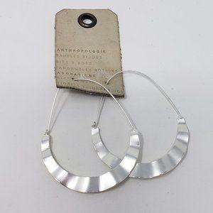 Anthropologie Silver Tone Drop Wavy Hoop Earrings